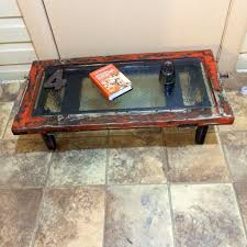 burnt orange coffee table burnt orange shabby chic window coffee table w black grey shabby