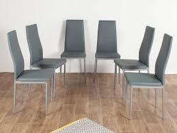 chaise pied metal chaise en tissu pvc avec pied métal lot de 6 enora gris