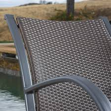 leann outdoor 3pc dark brown wicker rocking chair chat set ebay