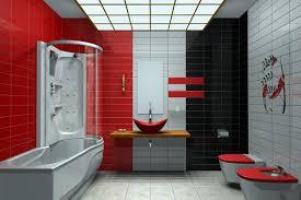 black white bathroom tiles ideas double red white toilet and gray white tub plus glass door on the
