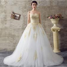 wedding dresses from america 2017 white and gold wedding dresses a line sweetheart lace up back