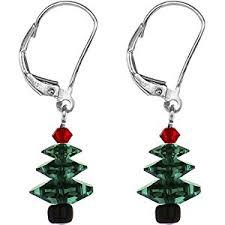 tree earrings created with swarovski