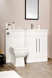 L Shaped Bathroom L Shaped 1100mm Gloss White Vanity Unit And Wc Combination Rh