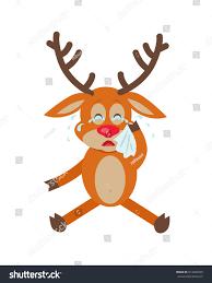 cute deer wipes tears cartoon upset stock illustration 614465969