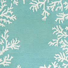 Trans Ocean Rugs Rug Coral Border In Aqua Hand Tufted