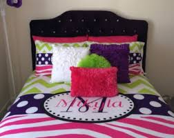 Pink And Lime Green Bedroom - lime green and pink bedding stripes and polka dots in lime green