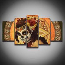 Home Wall Art Decor Online Get Cheap Colorful Skull Art Aliexpress Com Alibaba Group