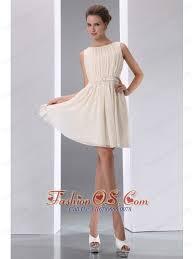 classical champagne a line scoop ruch junior prom dress mini