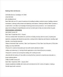 Teller Job Resume by Free Banking Resumes 43 Free Word Pdf Documents Download
