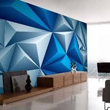 Wohnzimmer Tapeten Design Aliexpress Com Shinehome 3d Kinderzimmer Blau Geometrie