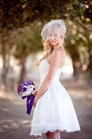 lace strapless pretty puffy short summer wedding dress bow