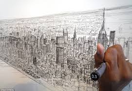 autistic artist draws 18ft picture of new york skyline from memory
