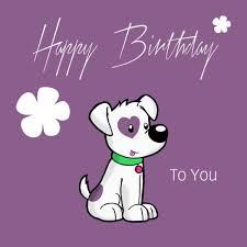 photo happy birthday to you purple dog flowers 600x600