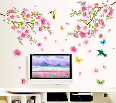 online buy wholesale blossoming flowers wall sticker from china large 9158 elegant flower wall stickers graceful peach blossom birds wall stickers furnishings romantic living room