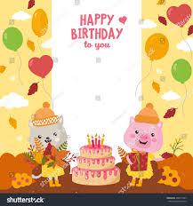 greeting card design cute cat pig stock vector 496911967