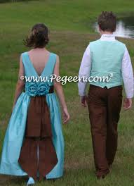 tiffany blue and chocolate brown flower dresses pegeen