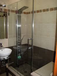 bathroom frameless shower stalls wood french doors corner shower