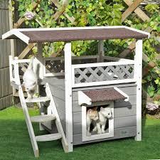 amazon com petsfit 2 story outdoor weatherproof cat house condo