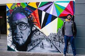 Mural Artist by Pakistani Artist Unveils 8ft Mural Of A Revitalised Newcastle In