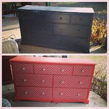 before and after dresser redo using paint mod podge and