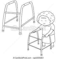 elder walker vector set of elder woman walk using walker vector clipart