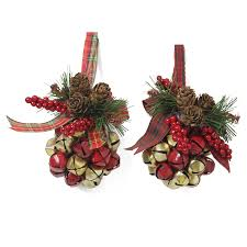 shop holiday living 2 pack pine cone jingle bell ornaments at