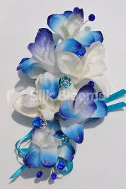 Blue Orchid Corsage Shop Artificial Royal Blue And Ivory Dendrobium Orchid Corsage W
