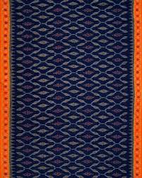orange and blue combination navy blue and orange ikat mercerized cotton saree handloom or