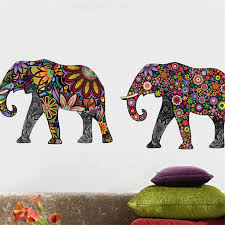 Elephant Bedroom Decor Flower Pattern Wall Sticker Removable Decal Home Decor Wallpaper