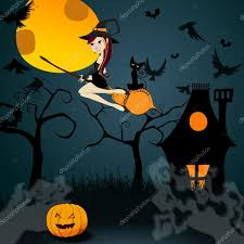 halloween witch pictures cute halloween witch with black cat flying in front of a full mo
