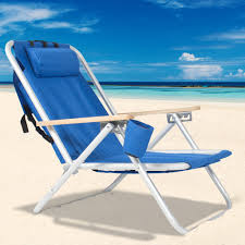 Back Pack Chair Backpack Beach Chair Folding Portable Chair Blue Solid