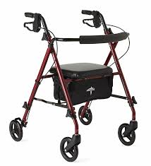 senior walkers with seat medline freedom mobility lightweight folding aluminum