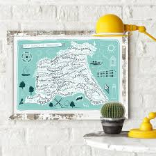 Yorkshire Map East Riding Of Yorkshire County Map Print U2013 Tabitha Mary