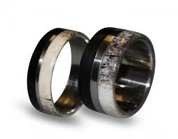 wood rings wedding titanium ring set titanium wedding band set deer antler antler