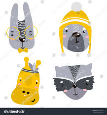set four cute animal faces creative stock vector 702657697