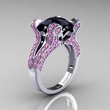 pink and black engagement rings vintage 14k white gold 3 0 ct black diamond light pink