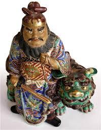 kutani shishi antique japanese kutani ceramic shoki and shishi lion okimono