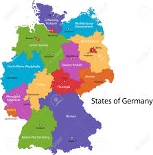 map of regions of germany colorful germany map with regions and cities royalty free
