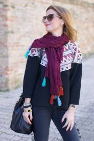 plaid ethnique chic fringed jeans and tassel scarf ethnic chic fashion and
