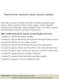 Training Resume Examples by Top 8 Marine Mammal Trainer Resume Samples 1 638 Jpg Cb U003d1432856308