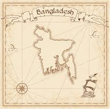 bangladesh old treasure map sepia engraved template of pirate
