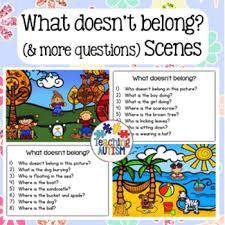 what doesn u0027t belong and wh question scenes by teaching autism tpt