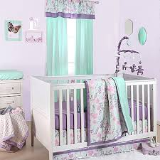 Purple And Teal Crib Bedding The Peanut Shell Floral Crib Bedding Collection In Purple Mint