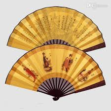decorative fans small large bamboo silk fabric folding held fans for