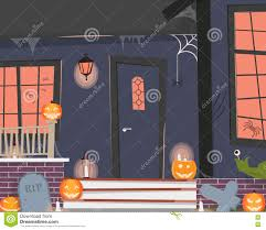halloween decorated house decorated house for halloween stock vector image 76685481