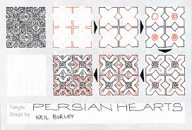 zentangle pattern trio tangle patterns persian hearts tangle pattern perfectly4med