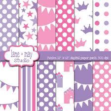 digital scrapbook papers pink and purple princess theme
