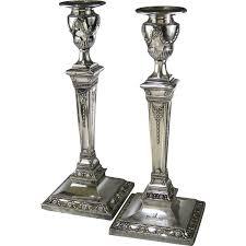 english adam style silver plate candlesticks c 1850 hawksworth