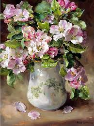 apple blossom blank or birthday card by anne cotterill flower