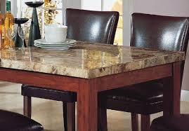 Amazoncom PCS Granite Top Dining Table   Brown Parson Chairs - Granite top dining room tables